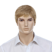 Free shipping 2015 new arrival 100% KANEKALON Blonde color male wig short hair wig for men