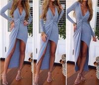 2014 Free shipping Fashion V-neck folds flouncing tight maix dress. Party Dress  TB 6359