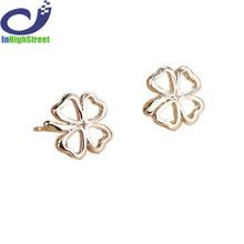 Fashion Flower Lovely Four Lucky Leaves Hollow Clover Pierced Stud Earrings for Women Jewelry