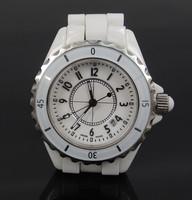 2014 Women White/Black Ceramic Luxury  Dress Watch Men CZ Diamond Wristwatches With Logo Gift