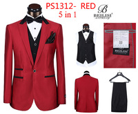 5pcs wedding suits men slim fit well men tuxedo business work suit sets gentleman one button RED plus size 46-58 BEILISI1313-5