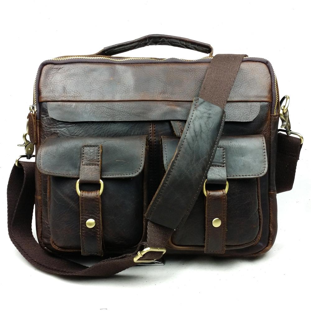 100% Crazy horse leather men bags Europe and the United States men business men's briefcase vintage bag Shoulder Messenger bags(China (Mainland))