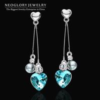 Neoglory Austria Crystal Rhinestone Silver 925 Needle Platinum Plated Heart Drop Earrings Women Fashion Jewelry 2014 New Brand