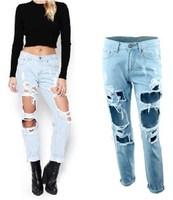 women plus size vintage holes Ripped jeans blue white trousers Female Retro denim capris European Fashion Casual pants clothing