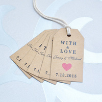 Custom Wedding Tag 100pcs/lot  Mini  Favor Tag  paper wedding tags  rustic place cards 7 colors of Heart you can choose