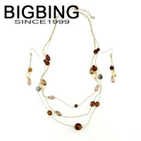 BigBing fashion jewelry fashion CRYSTAL Chain necklace fashion jewelry set with earring  high quality free shipping b399