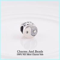 2014 New 925 Sterling Silver Tai Chi Yin Yang Box Charm Beads Fits Pandora Style Charm Bracelets
