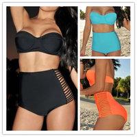 2014 Coral Neon Push Up Bikini Bustier High Waisted bikini Spandex Swimsuit Women Side Slits Bandage Swimwear Plus size