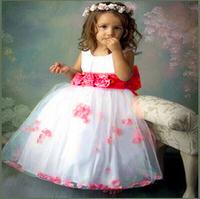 High quality,Flower girl dresses Children dresses Kids wedding party dress baby girls' dresses white size 2-8 years