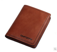 2014 new arrival free shipping genuine leather wallet men retro casual leather men's wallet short wallet card pack