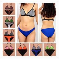 2014 Women Neon Triangle Hollow Out Mesh swimwear Neoprene Bikini Bathing suits Neoprene swimsuit Neoprene bikinis Set  S-XL