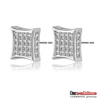 2014 New Arrival Stud Earrings 18K Gold /Platinum Plate Micro Inlay AAA Swiss Cubic Zirconia Lovely Jewelry Earrings Wholesale