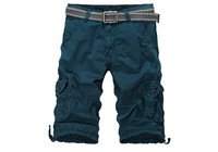2014 Sale Rushed Straight Solid Pleated Beach Brand Summer Men's Overalls Yards Cotton shorts Five Outdoor Cargo Shorts 4 Color