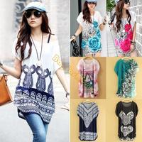 2014 New Fashion Hot Sale Women Autumn-Summer Dresses Ice Silk Dress Loose Flower Print Long T-Shirt b4 SV003118