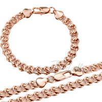Elegant 7.5MM 18K Rose Gold Filled Necklace Bracelet Jewelry Set  Womens Mens Chain Cut Snail Wholesale Set LGS63