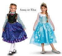 Elsa & Anna costumes,frozen dresses for girls, blue children party dress, baby & kids summer dress 5psc/lot in stock