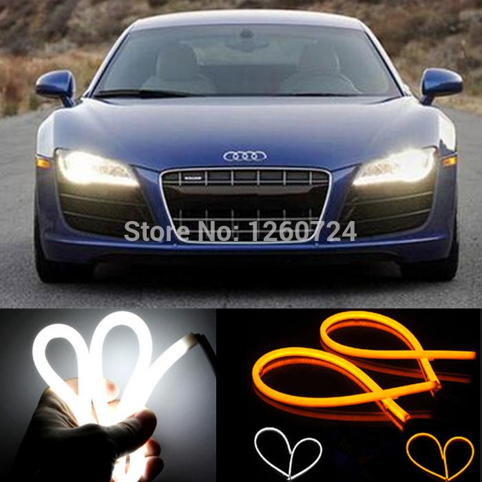 car styling 2X60cm White+Yellow Flexible Headlight Daytime Lamp Switchback Strip Angel Eye DRL Decorative Light With Turn Signal(China (Mainland))