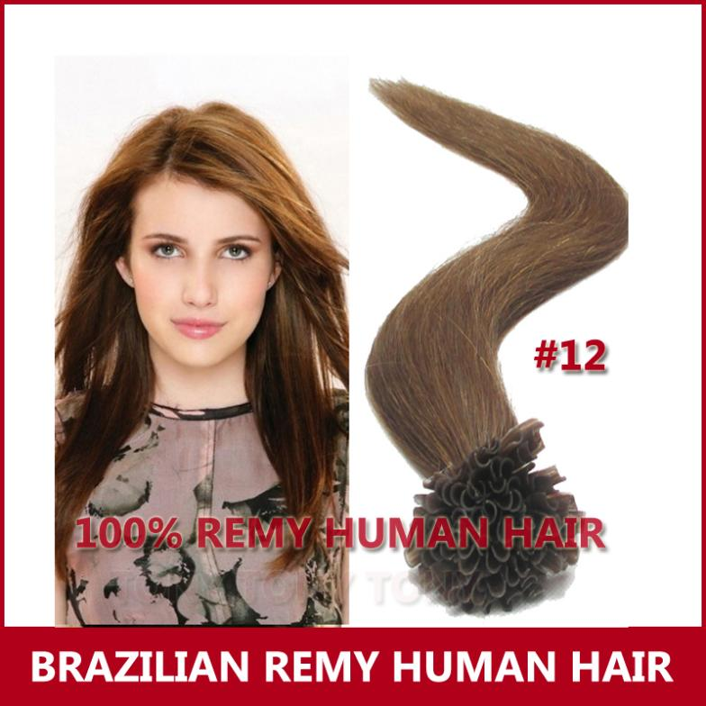 Fashion Hair Queen 100 Remy Pre u 18 20 22 /#12 Nail Hair super queen hair 100
