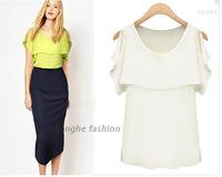 2014 New ruffles chiffon shirt loose chiffon shirt Slim women blouse 2 colors XS-XL