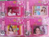 10pcs Hot sale! Wholesale violetta sets cartoon kids part Set violetta watch Wristwatch and violetta wallet purse