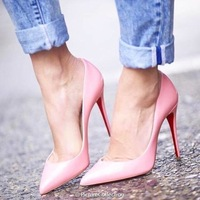 Big Size Women Pumps Sexy Red Bottom Pointed Toe High Heels Shoes Woman 2014 Brand New Design Wedding Party Shoes C481