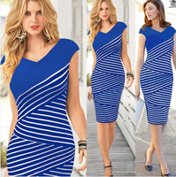 Free shipping Women Sleeveless Classic Striped Casual Bodycon Stretch Party Wiggle Knee-Length Pencil Cotton Dress