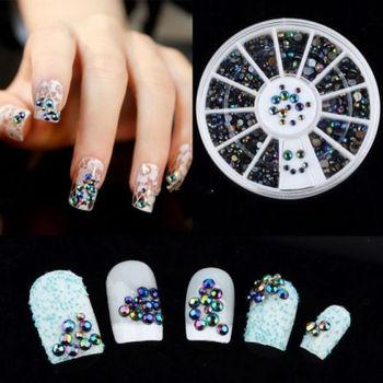 300 шт. 3D ногтей гель маникюр советы кристаллической блеск блеск порошок ногтей ...