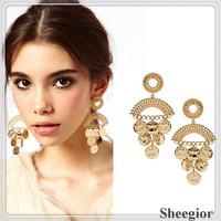 Fashion Gold Earring High quality Metal Alloy Dangle earrings 2014 New Fashion Brand Earrings for women