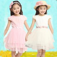 2014 New Fashion Children's Girl's Floral Veil Clothing Summer Girls Short Sleeve Casual princess dress