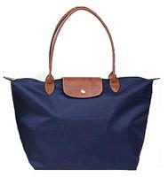 Women Leather Handle Tote Shopping Bag Nylon WaterProof Colorful Handbags New  portable nylon bags dumplings shopping folding