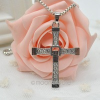2014 New Fashion Cool Men's Brave Cross Crystal Pendant Silver/Gold Necklace Alloy Plated Y51 MHM038#M5