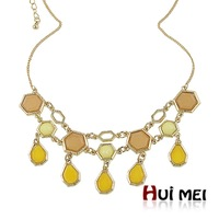 New Fashion Colorful Candy Resin Beads Pendant Gold Necklaces Statement Bijoux for Women Girls