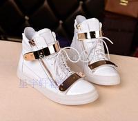 Fashion Sneakers GZ High Top Shoes Stone Pattern Flat Women Shoes Platform Gold Double Buckles Casual Shoes Men Zanotty