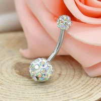 FREE SHIPPING Crystal Disco Ball & Surgical Stainless Steel Piercing Navel Ring, Belly Button Rings, Body Piercing Y50*MPJ031#S7