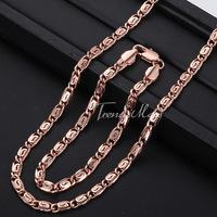 Customized  4.5MM Snail Boys Mens Chain Necklace 18K Rose Gold Filled Necklace Bracelet Jewelry Set Wholesale Jewelry GS182