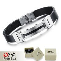 OPK JEWELRY Free Box! Men's Fashion Jewelry Genuine Leather Wrap Bracelet & Bangle Unique Design Pulseira Jewelry, 835
