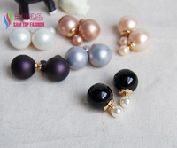 2014 Christmas gift hot fashionable women's pearl stud earrings18mm double bead faux pearl assorted colors boucles perles bijoux