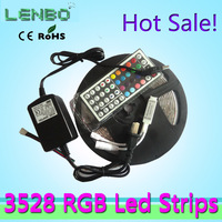 Hot Sale 5M/LOT no-waterproof  3528 RGB blue green  red cold warm white  LED Strip DC12V +Remote controller +24W Power  adaptor