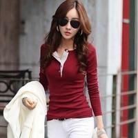 2014 New High quality Fashion Shirt Plus Size Long Sleeve cotton Blouses & Shirts women tops camisetas femininas t-shirt 9810