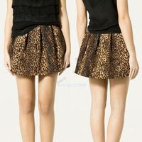 Free Shipping 2014 New Women's Stylish Leopard Elastic Waist Skirt With Side Zipper B12 SV004472