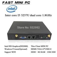 DDR3 8GB RAM 120Gb  SSD thin client mini computer Intel core I3  dual core 1.8GHz dual thread    HDMI+ VGA windows/linux