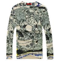 Mens t-Shirts V neck Long Sleeve 2015 New T Shirt Casual Tees Male Tops Fashion Cotton T shirts Clothing 3 D print Plus size 3XL
