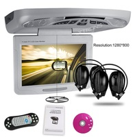 "11.3"" Car Roof Mounted DVD Player, Digital TFT LCD Screen1280*800 Rotating Screen 270 Flip down Overhead Ceiling Monitor DVD"