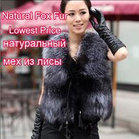 Autumn Ladies' Genuine Natural Spliced Silver Fox Fur Vest  Winter Women Fur Slim Waistcoat Female Outerwear Coats QD11630