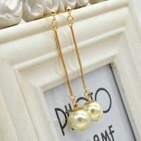 hot selling 2014 accessories ol elegant gold plated long design pearl earrings Pearl Earrings Charming MPJ021