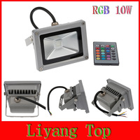 Free shipping 10W RGB IR Remote LED Floodlight Flood Light Bulb Outdoor Lighting IP65 Waterproof Square Garden Wall