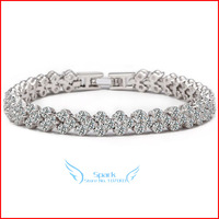 Luxury Guaranteed AAA+ Cubic Zirconia Stones Paved Roman CZ Diamond Love Bracelet (SK B001)