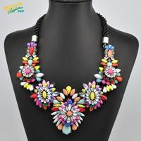 fashion brand jewelry new arrival 2014 shourouk rainbow flower stone necklace pendants for women statement quality choker luxury