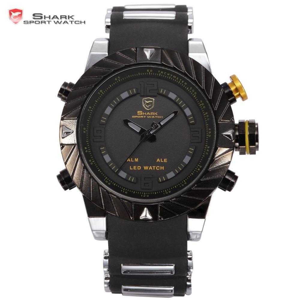Marca squalo lunetta turbinio design uomini orologio da polso sportivo relogio digitale impermeabile avvolgere cinturino in silicone moda casual orologio/sh168
