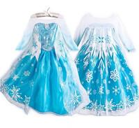 1 pcs retail 2014 new frozen dress, summer frozen princess gauze dress, Animated cartoon dress, Girls long-sleeved frozen dress.